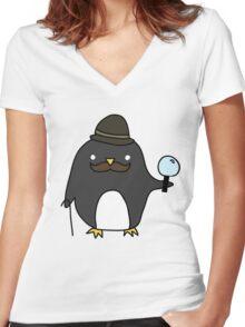 Sherlock Penguin Women's Fitted V-Neck T-Shirt