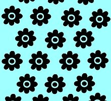 Blue green with black flowers by Paula J James