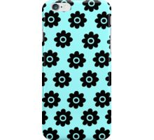 Blue green with black flowers iPhone Case/Skin