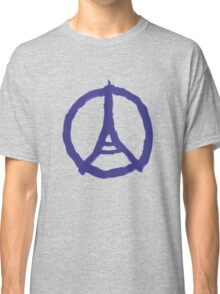 Eiffel Tower Peace Sign Hand Painted Classic T-Shirt