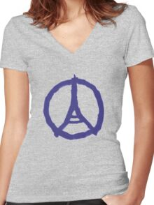 Eiffel Tower Peace Sign Hand Painted Women's Fitted V-Neck T-Shirt