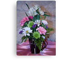 Morning Fresh Coffee and Flowers Canvas Print