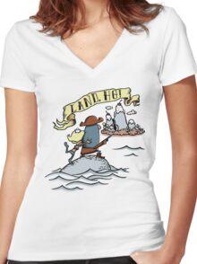 Land Ho! Women's Fitted V-Neck T-Shirt