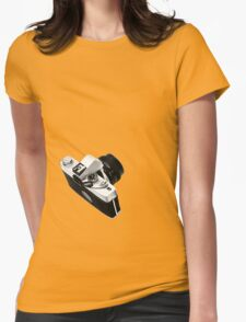 Digital camera isolated on white background DSLR on T-Shirt Womens Fitted T-Shirt