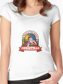 Santa Claus Father Christmas Writing Letter Women's Fitted Scoop T-Shirt