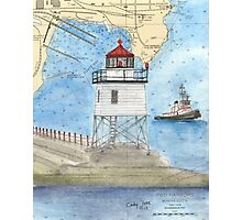 Two Harbors Lighthouse MN Nautical Chart Peek Photographic Print