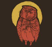 Owl Moon Linocut (dark tee) by fixtape