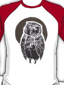 Owl Moon Linocut (light tee) T-Shirt