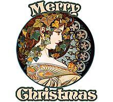 Alphonse Mucha Merry Christmas Photographic Print