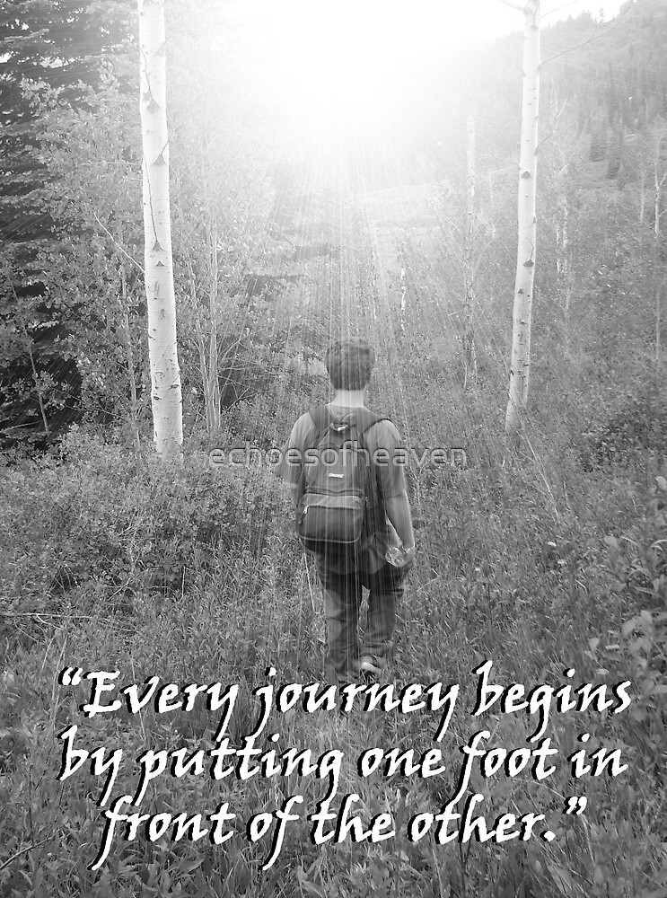 """""""Every journey begins by putting one foot in front of the other.""""  by Carter L. Shepard by echoesofheaven"""