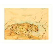Leopard Oil Pastel Drawing Art Print