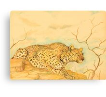 Leopard Oil Pastel Drawing Canvas Print