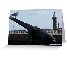 Seagull gunner on duty, Whitby Greeting Card