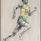 Bolt - running for gold by Paulette Farrell