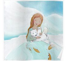 Girl loves baby Polar Bear Poster