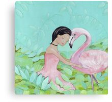 Best friends, Girl and Flamingo Canvas Print