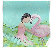 Best friends, Girl and Flamingo Poster