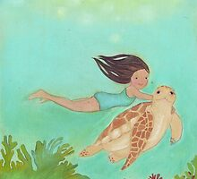 Girl and Turtle, swimming together by Helga McLeod
