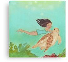 Girl and Turtle, swimming together Canvas Print