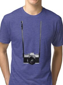 Digital camera isolated on white background DSLR on T-Shirt Tri-blend T-Shirt