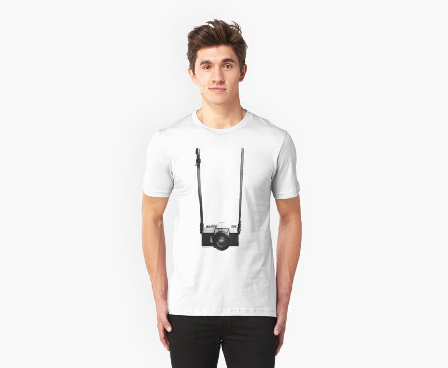 Digital camera isolated on white background DSLR on T-Shirt by hangingpixels
