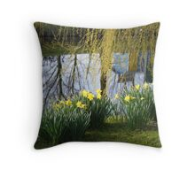 Yellow bathers on the bank Throw Pillow