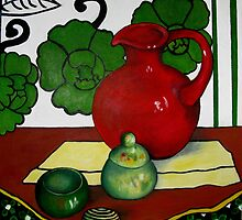 RED JUG AND SMALL POT by Redlady