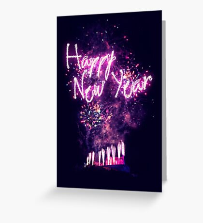 Happy New Year fireworks over Edinburgh Castle Greeting Card