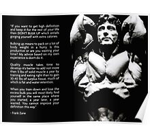 Frank Zane - Training and Diet Advice Poster
