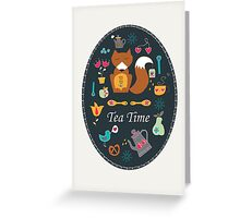 Tea Time With Mr Fox Greeting Card