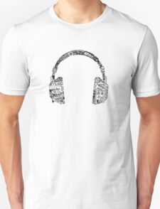 Headphone Montage - Black T-Shirt