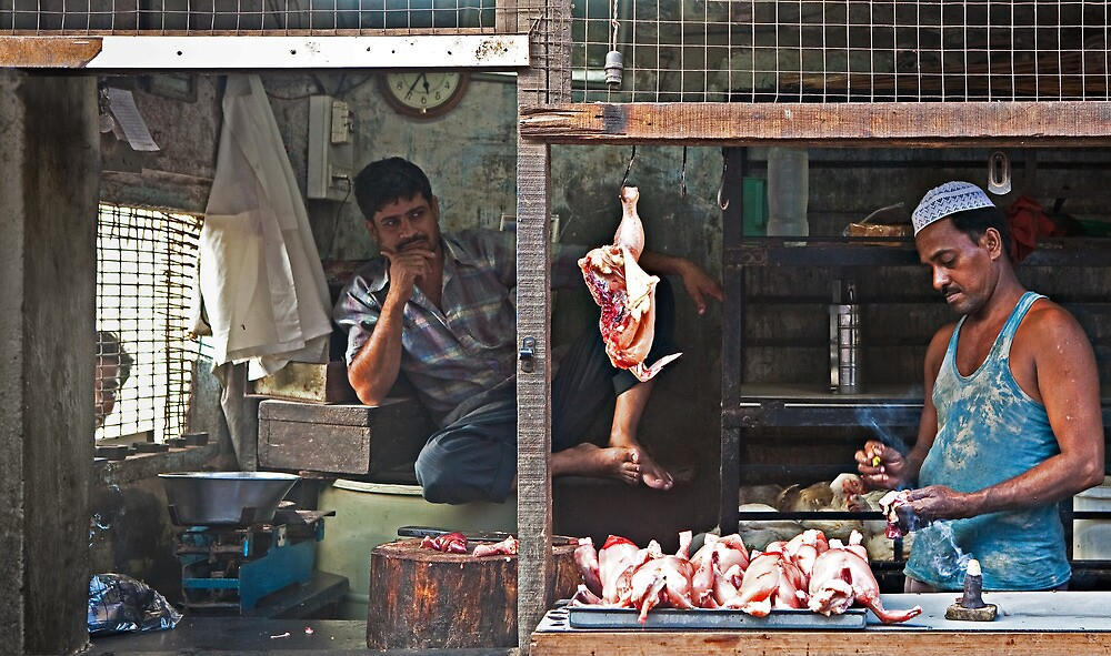 Chicken Stall Mumbai India by Heather Buckley