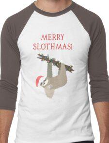 Merry Slothmas - Funny Sloth Christmas - Christmas Sloth - Animal Christmas Men's Baseball ¾ T-Shirt