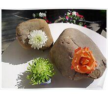 Zen Rock Garden Decorations with Fresh Flowers Poster