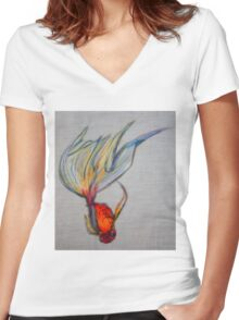 Goldfish Pond (close up #7) Women's Fitted V-Neck T-Shirt