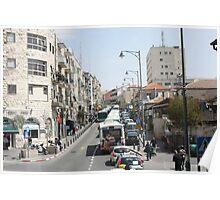 Buses on Jaffa Street, Jerusalem Poster