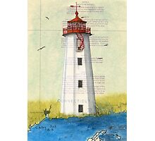 Faulkner Island Lighthouse CT Chart Cathy Peek Photographic Print