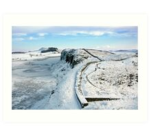 Hadrian's Wall touched by winter Art Print