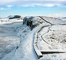 Hadrian's Wall touched by winter by Joan Thirlaway