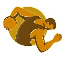 discus thrower throwing side retro style by retrovectors