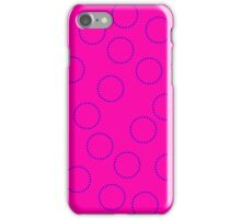 Pink with electric blue circles iPhone Case/Skin