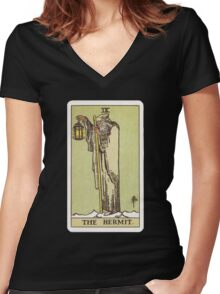 Tarot - The Hermit Women's Fitted V-Neck T-Shirt