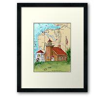 Little Traverse Lighthouse MI Chart Cathy Peek Framed Print