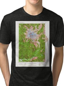 USGS Topo Map Washington State WA Mt Rainier 242665 1924 125000 Tri-blend T-Shirt