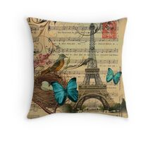 vintage paris eiffel tower music notes botanical art Throw Pillow
