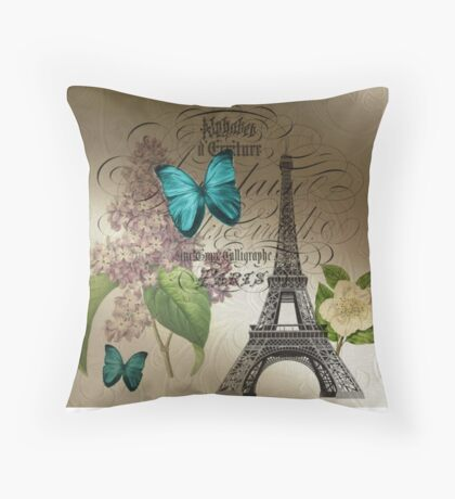 vintage paris eiffel tower butterfly lilac floral art  Throw Pillow