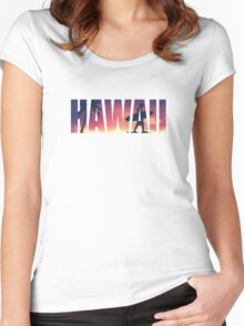 Vintage Filtered Hawaii Postcard Women's Fitted Scoop T-Shirt