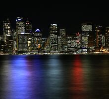 A shot of Circular Quay at night by George Benedek