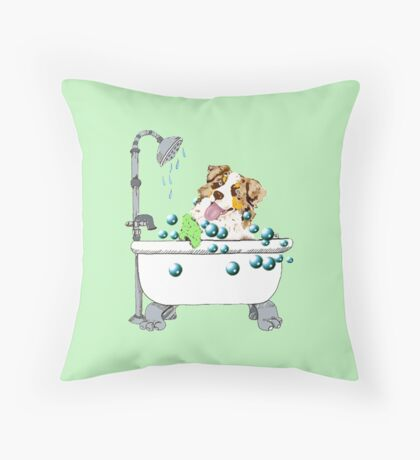 "Red Merle Aussie ""Rub-A-Dub-Dub"" Throw Pillow"
