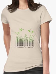 Green Barcode Womens Fitted T-Shirt
